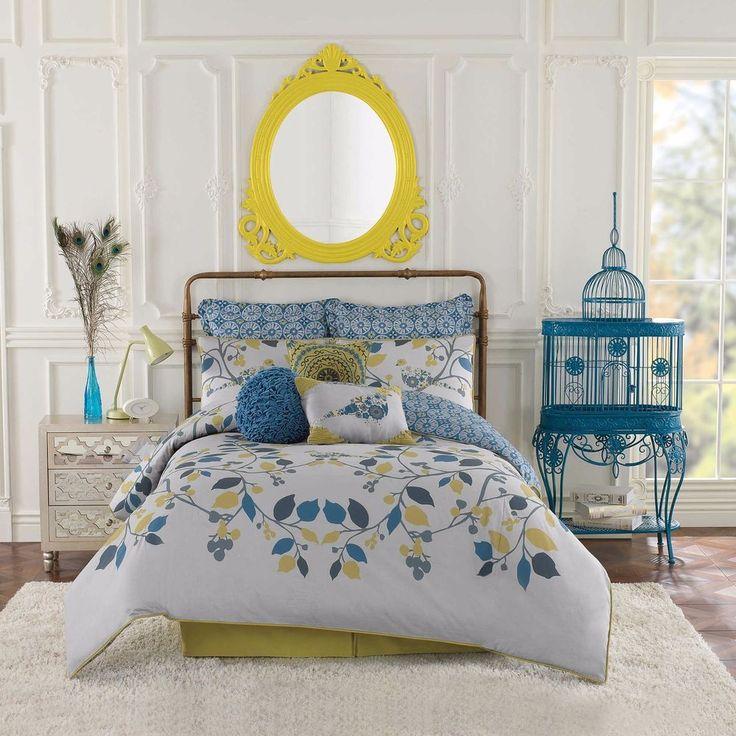 7-Pc Anthology Bloomsbury King Comforter Set French Shabby Chic Bird Blue Green #Anthology #FrenchCountry