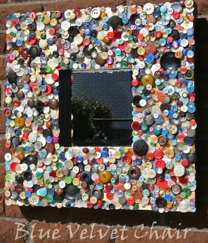 This mosaic of buttons of is cute.  Will definitely have to try this sometime.