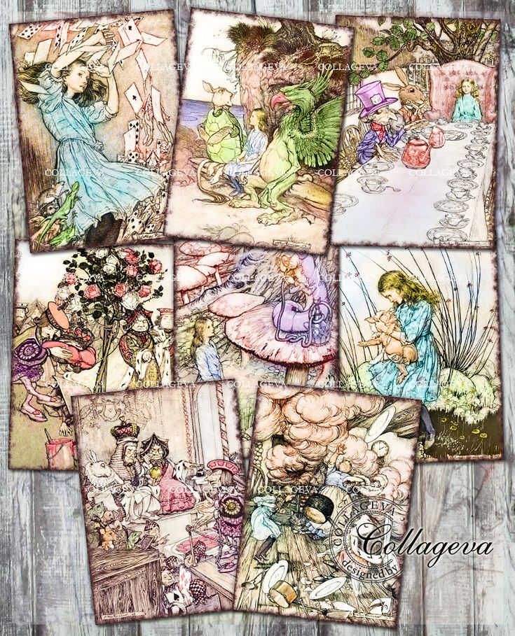 Alice in Wonderland Digital Cards ATC ACEO Tag Label, Printable Vintage Ephemera, Sepia Colored Images Clipart INSTANT Download (T018-a) by collageva on Etsy