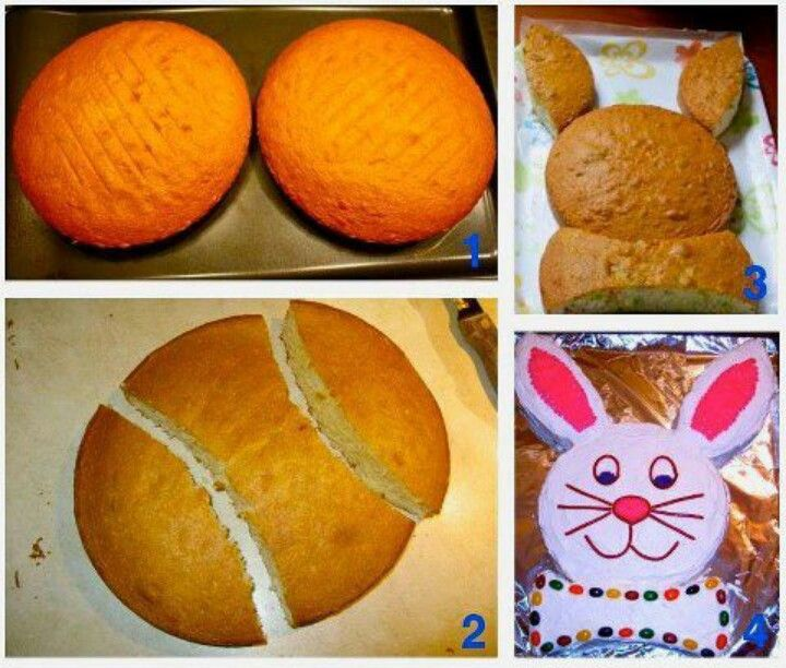 Bunny cake. My mom makes a cake like this she sprinkles shredded cocunut on top to look like a fluffy bunny.