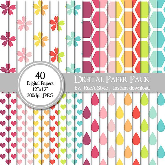 SALE 40 Digital Paper Pack Flower design Rain drop by rueastyle