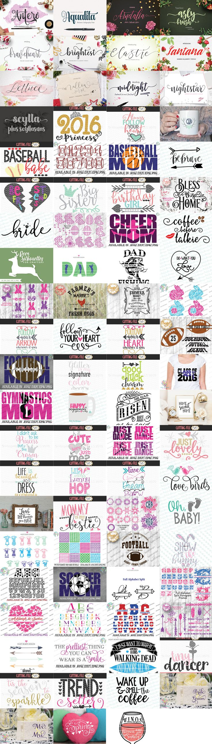 This craftalicious bundle is packed full of goodies. 13 awesome PUA encoded fonts (yes, accessible to everyone!) and over 65 amazing craft files. Grab yours quick! As always, this pack comes with our complete license. Which allows you to use everything for commercial use.