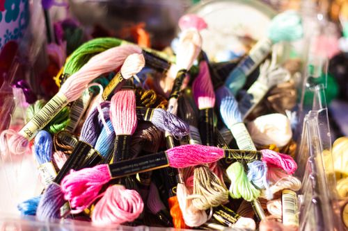 Colourful threads for crafting at Shongweni Farmers Market