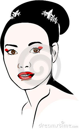 Colored vector illustration of an Asian woman who wears a bun and geisha makeup.
