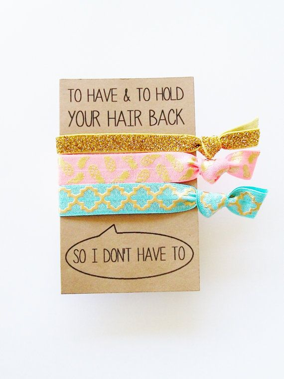 Custom Party Favor Card and Hair Tie set by LuckyGirlHairTies