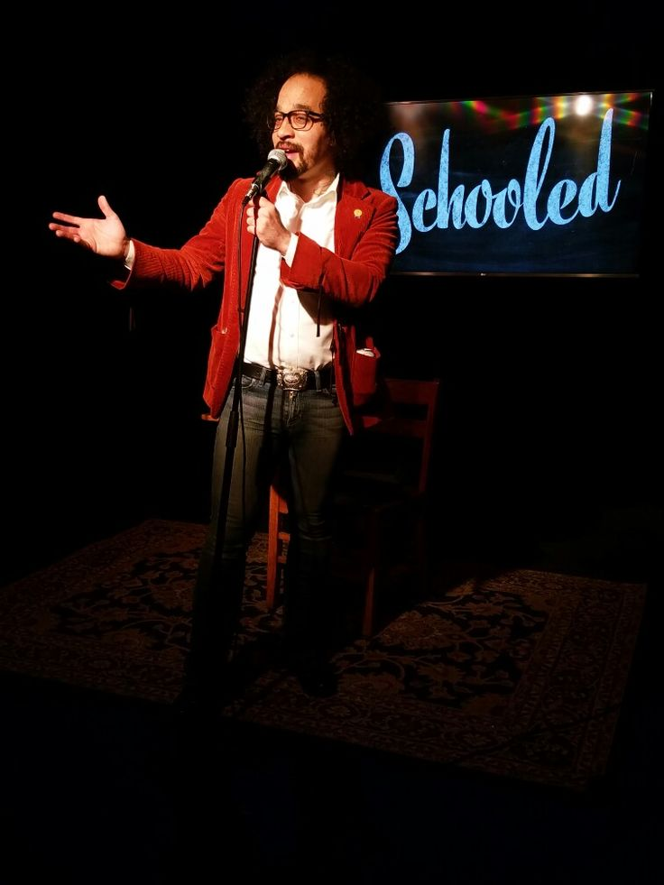 Philadelphia storyteller and comedian Geoff Jackson hosts the monthly storytelling showcase Schooled at the Good Good Comedy Theater.