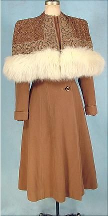 circa 1947 Wool Coat with amazing attached beaded and soutache capelet with fox trim