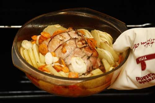Mușchi de porc cu legume, la tavă