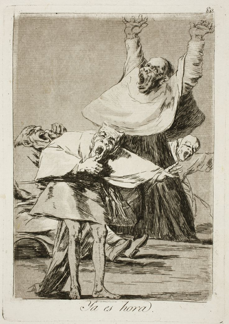 "Francisco de Goya: ""Ya es hora"". Serie ""Los caprichos"" [80]. Etching, aquatint, drypoint and burin on paper, 214 x 151 mm, 1797-99. Museo Nacional del Prado, Madrid, Spain"