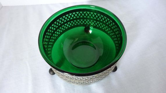 Green Depression Glass Serving Bowl with Silver Plated Holder