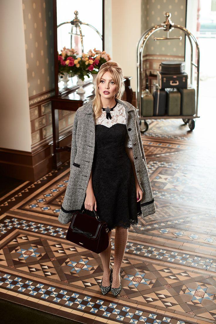 Black Tie Dress | The Ritz Coat |All That Glitters Brooch | Bexley Bag