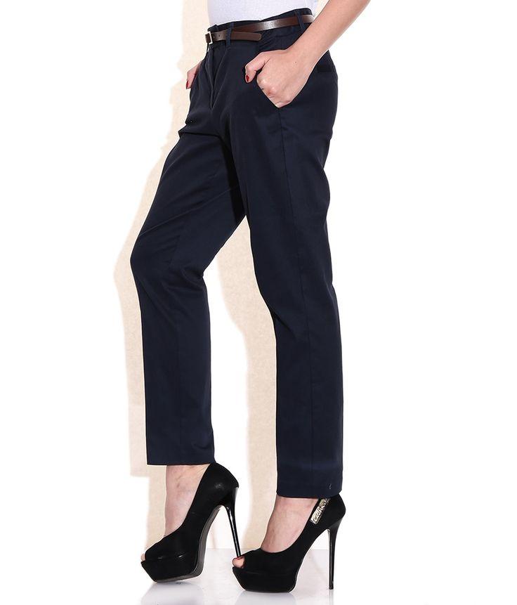 Vero Moda Navy Regular Fit Trousers