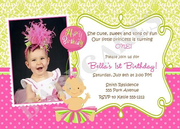 The Best St Birthday Invitation Wording Ideas On Pinterest - First birthday invitations girl online