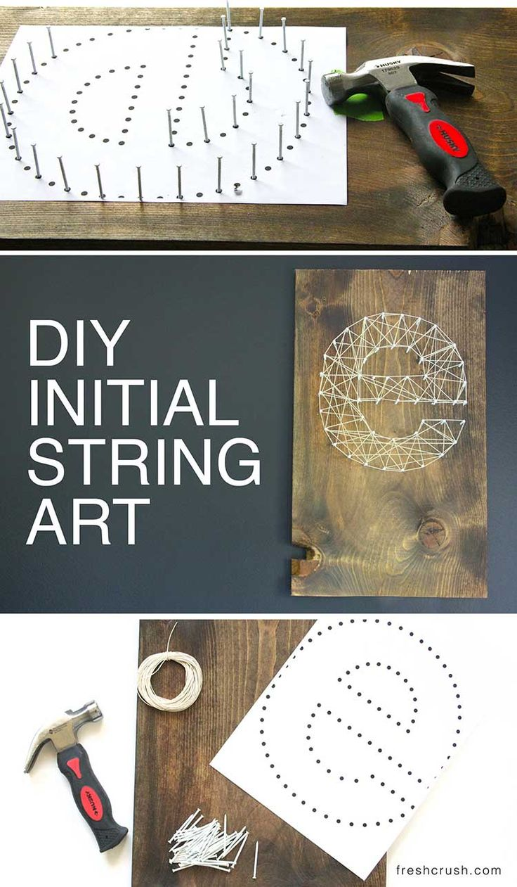 Make your own DIY Initial String Wall Art, in a few quick steps. This creamy string against the dark wood tone is the best! There's a video tutorial too, so you don't miss a thing! Easiest monogram ever! Initial string art tutorial at www.freshcrush.com.