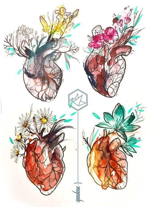 corações com cores em aquarela: