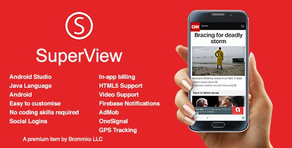 SuperView - WebView App for Android with Push Notification
