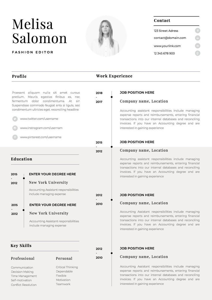 One Page Resume Template With Photo For Word Pages Cv Template With Photo Singe Page Professio One Page Resume Template Cv Template Word Resume Template Word