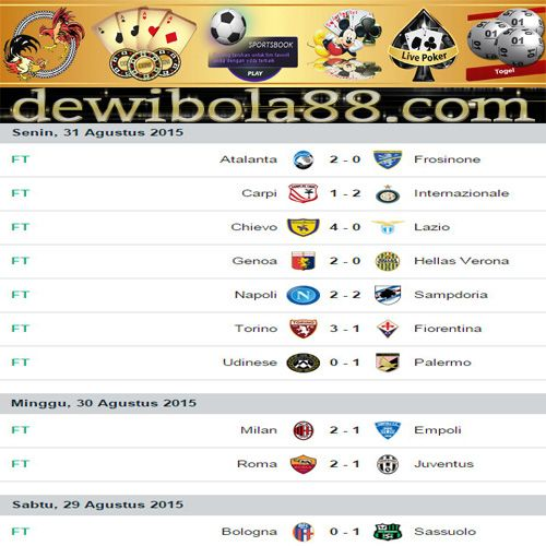 Dewibola88.com | HASIL PERTANDINGAN LIGA ITALIA SERIE A Gmail        :  ag.dewibet@gmail.com YM           :  ag.dewibet@yahoo.com Line         :  dewibola88 BB           :  2B261360 Path         :  dewibola88 Wechat       :  dewi_bet Instagram    :  dewibola88 Pinterest    :  dewibola88 Twitter      :  dewibola88 WhatsApp     :  dewibola88 Google+      :  DEWIBET BBM Channel  :  C002DE376 Flickr       :  felicia.lim Tumblr       :  felicia.lim Facebook     :  dewibola88
