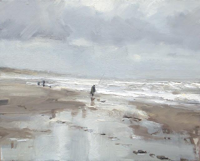 Seascape winter # 12 Beautiful grey day and fisherman, 24x30 cm, Roos Schuring, 2012 Zeegezicht http://roosschuring.blogspot.com/