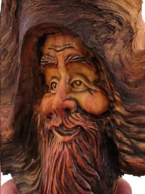 Wood tree carving rustic spirit log home gnome forest face
