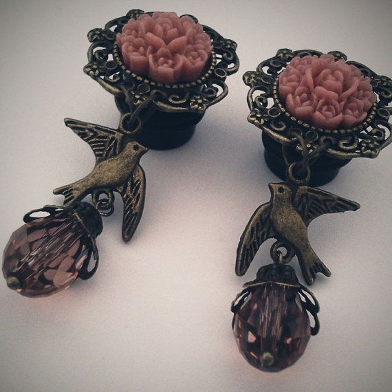00g 10mm Blush Birdie Dangly Plugs for Stretched by Glamsquared, $26.00