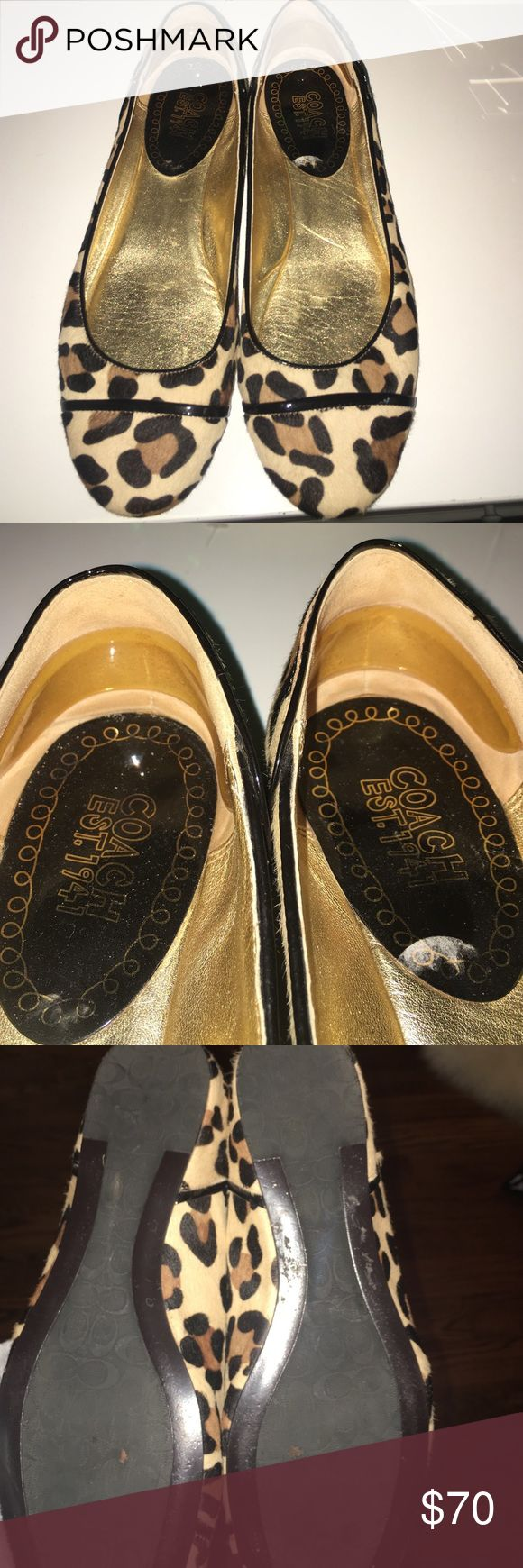 Coach Animal Print Ballet Flats Rarely worn, super cute animal print coach ballet flats with ankle gel inserts! Size 8 Coach Shoes Flats & Loafers