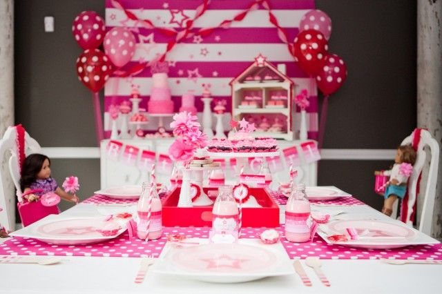 american doll party setup