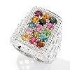126-269 - Gem Insider Sterling Silver 1.32ctw Multi Color Tourmaline Rectangle Ring