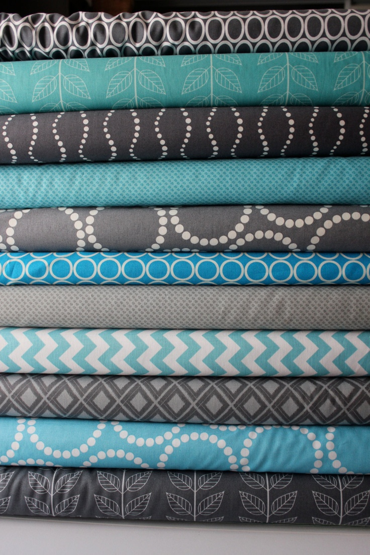 I love these fabrics! :) Look on her Etsy shop for fabric combo ideas. Turquoise and Gray custom FQ bundle 11 total. $30.25, via Etsy.