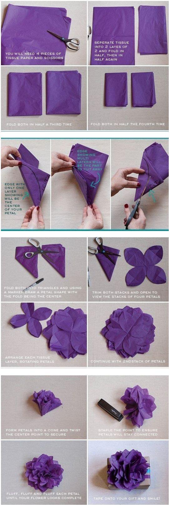 Mo o de papel crep tutoriales de origami pinterest - Como hacer pompones ...