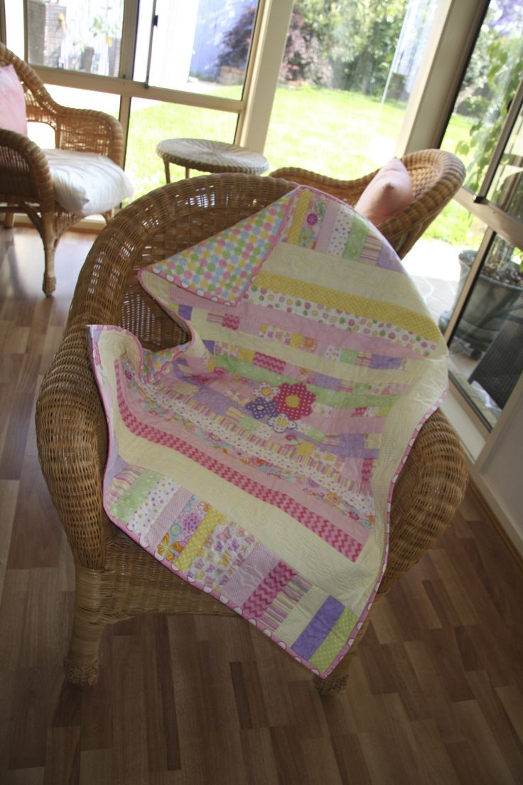 Baby Girl Quilt in pastels.