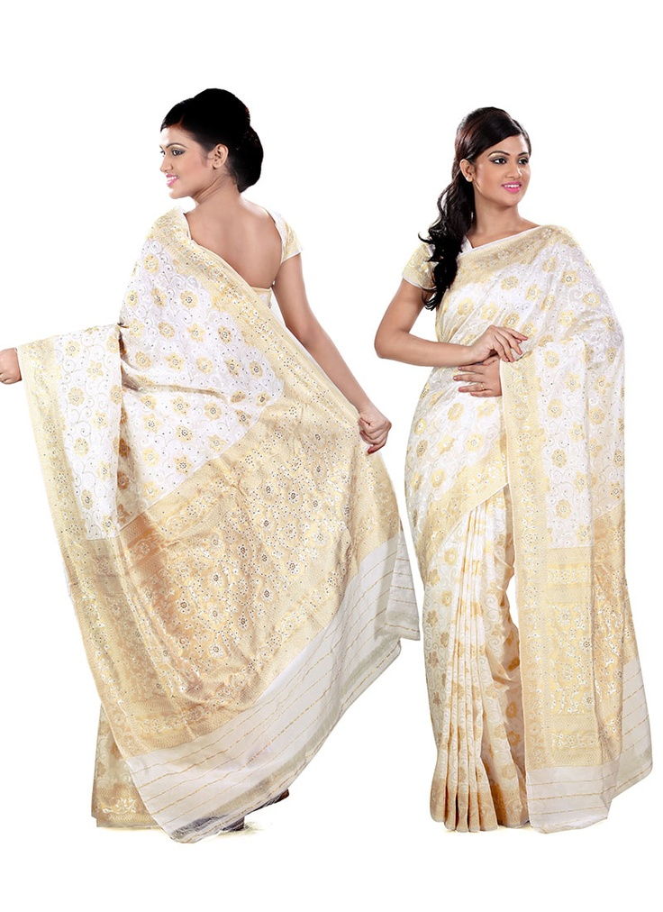 Simple White And Gold Silk Saree With Embroidery Indian