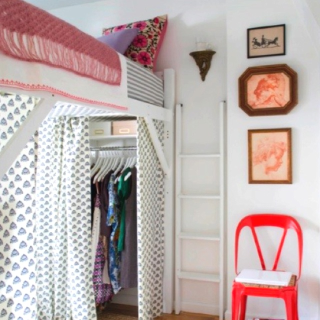 Fabric 'curtains' under loft bed Go to COLLEGE