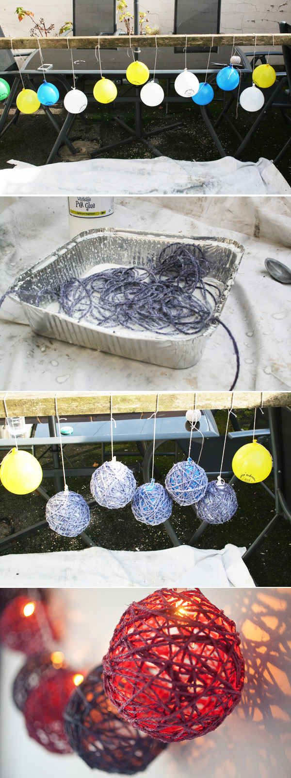 Create colorful twine balls to encase the lights.