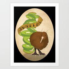 Kiwiana banner Series - Kiwi Art Print
