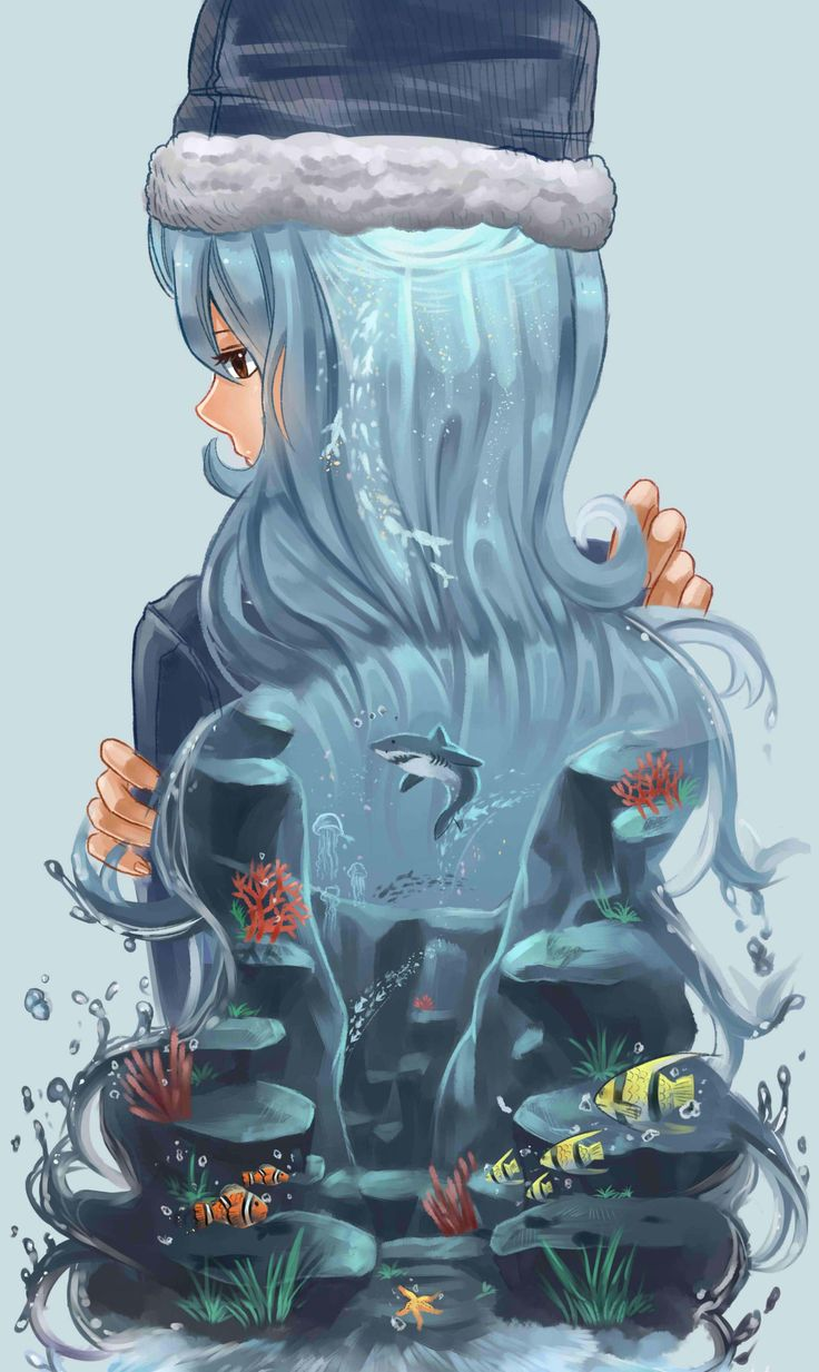 OMG I LOVE THIS!!! It's just so beautiful... Ur finally ended at the sea... and THIS draw is, trying to connect Juvia whit th sea? Somehow? Well, I like to think that... and Ur and Juvia are very close to Gray... meh... wathever...