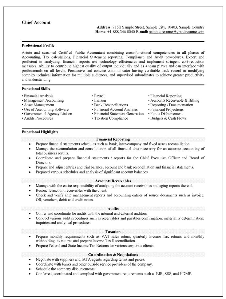 49 best Professional images on Pinterest Resume examples, Resume - tax accountant resume sample