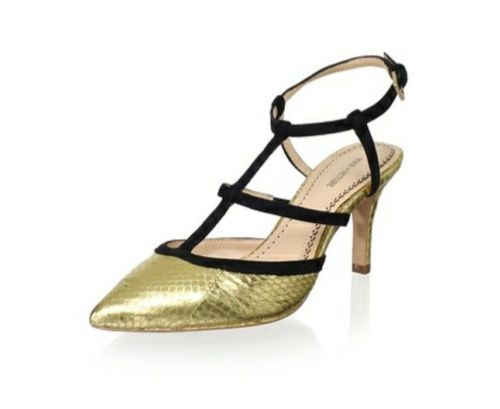 Pour La Victoire Olivier Snake-Embossed Metallic Leather Halter Pump Gold. Retail $240.00 Sale $139.00. Pour La Victoire Olivier offers a stylized take on the classic pump. Sassy gold snake-embossed leather detailed with black suede caged straps. Contrasting suede trim and straps across vamp and halter ankle. Another fantastic pump from Pour La Victoire.