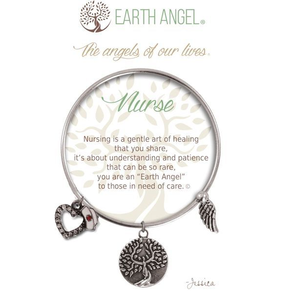 """Nurse Earth Angel Bangle - Silver - Earth Angels is a beautiful line of expandable charm bracelets created to thank, recognize and celebrate all the """"Earth Angels"""" who have positively impacted our lives. Each bangle comes in an gift box making it the perfect gift for your """"angel""""."""