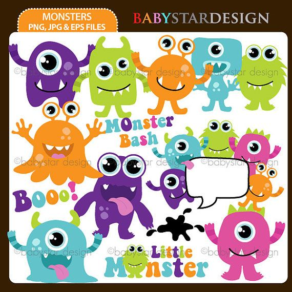 Monsters+Clipart+INSTANT+DOWNLOAD+by+babystardesign+on+Etsy,+$5.95