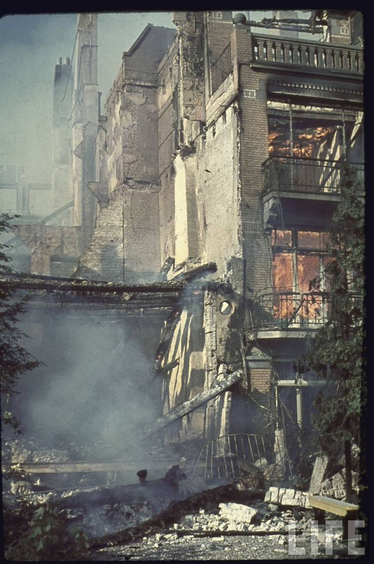 """Rotterdam in ruins after heavy German bombardment, which killed 30,000, during the Nazi blitzkrieg (""""lightning war"""") across the Low Countries of Europe"""