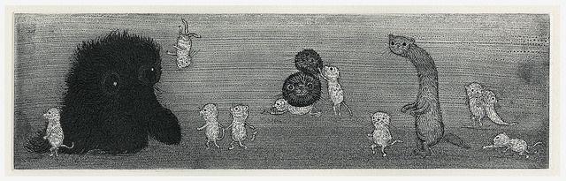 Takanori Ishizuka 石塚隆則 左へ Etching 110 x 365mm edition 30