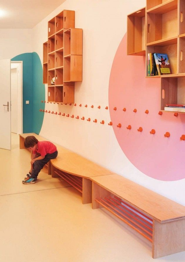 Love The Simple White Walls With Circles Of Color Benches Hooks Kita Hisa