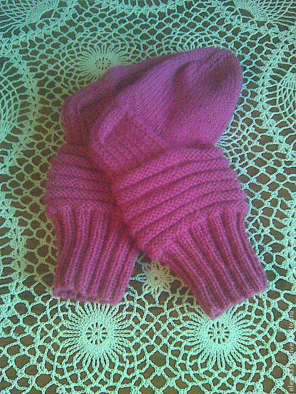 Купить Носочки детские - фуксия, однотонный, носки ручной работы, носки вязаные, Носки шерстяные