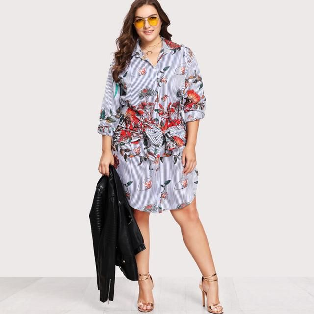 fe3f08a1c27 Plus Size Floral Belted Knot Shirt Dress