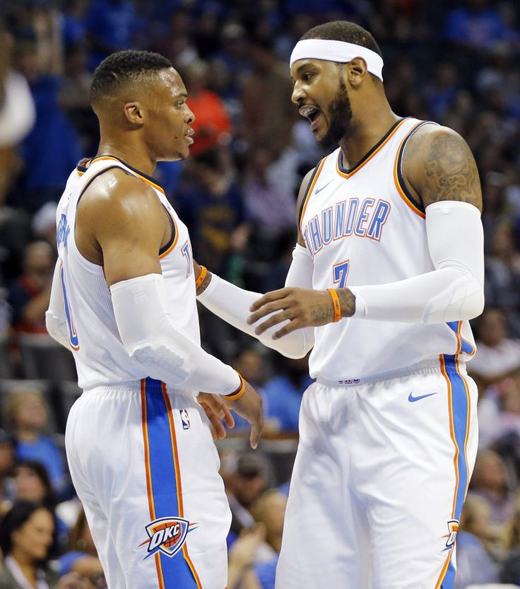 Oklahoma City\'s Russell Westbrook (0) and Carmelo Anthony (7) talk in the first quarter during a preseason NBA basketball game between the Oklahoma City Thunder and the New Orleans Pelicans at Chesapeake Energy Arena in Oklahoma City, Friday, Oct. 6, 2017. Photo by Nate Billings, The Oklahoman