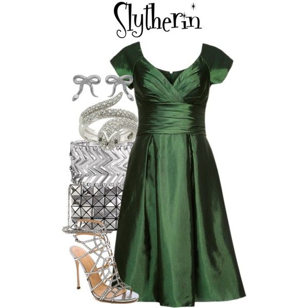 Slytherin // Harry Potter by glitterbug152 on Polyvore featuring Swing, Sergio Rossi, Bao Bao by Issey Miyake, Express, Meadowlark, harrypotter, slytherin and allegrabounds