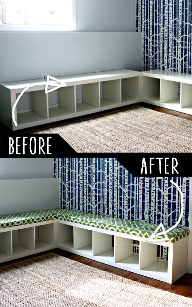 DIY Furniture Hacks |  Padded Bench Out of Bookshelf  | Cool Ideas for Creative Do It Yourself Furniture Made From Things You Might Not Expect - http://diyjoy.com/diy-furniture-hacks