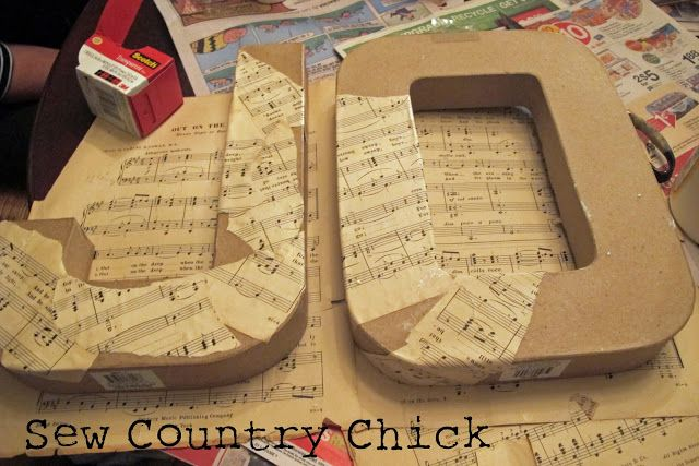 Sew Country Chick: fashion sewing and DIY: Mod Podged Sheet Music Covered Letters: A Christmas Craft Tutorial
