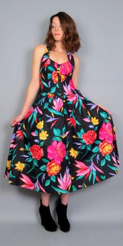 e8ade67b8c09 Vintage 80s Black Floral Print Halter Dress Midi Length Garden Party Summer  Cotton Sundress Full Skirt with Pockets Retro 1980s by BlueFridayVintage on  Etsy